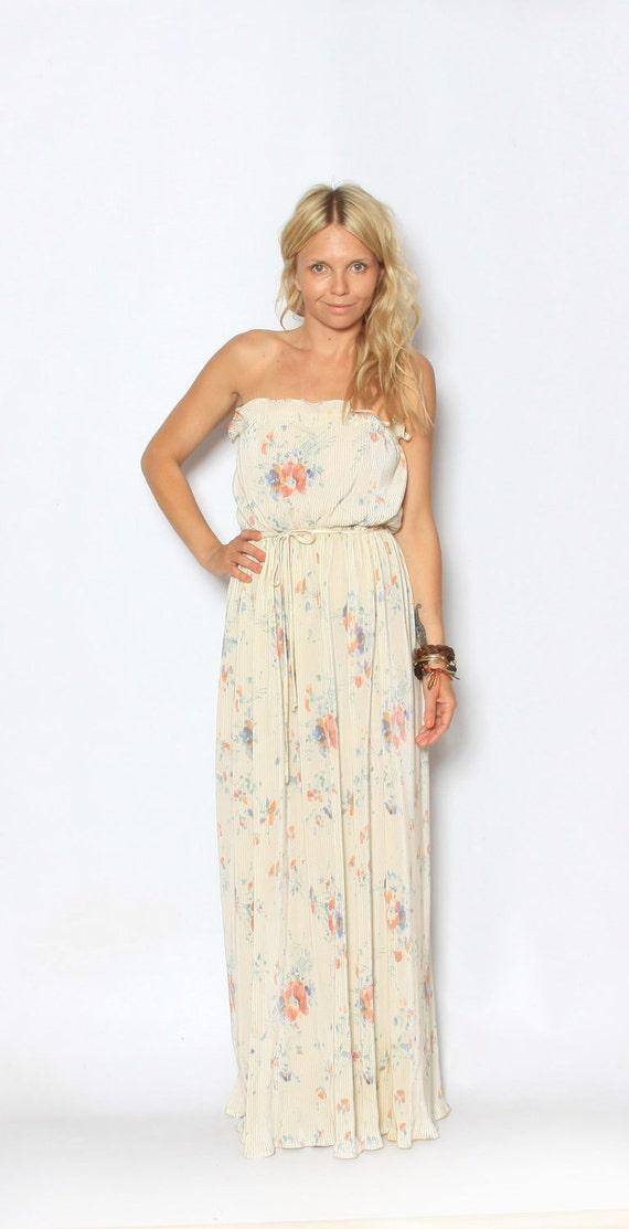 Vintage BOHO Goddess Cream Pleaded Maxi Dress w/ Flowers