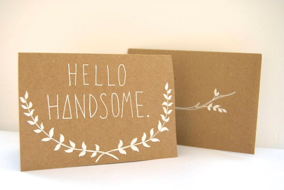 Hand Illustrated Card - Hello Handsome