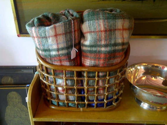 Matching vintage wool plaid camp blankets.  Twin camp blankets.  On SALE
