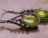 Sterling Silver Earrings - Green Tea
