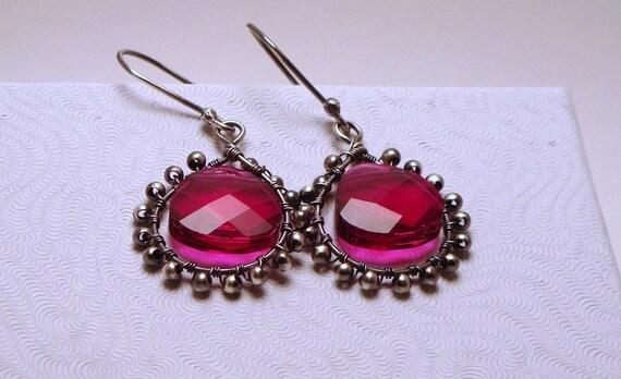 SOLD - SOLD - Thanks Kit :)  Earrings - Glam Girls - Sterling Silver adorned with Ruby Swarovski briolette - SALE!!!