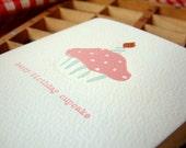 Happy Birthday Cupcake - letterpress birthday card