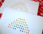 Rainbows - set of 6 letterpress cards