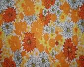 vintage fabric - retro orange and yellow floral - fat quarter