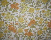 vintage fabric - orange, yellow, olive green and white springtime floral print - fat quarter