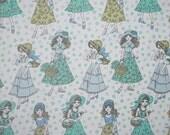 vintage fabric - super sweet 1960s girls - fat quarter