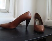 Classic Brown Italian Leather Pumps Size 7 1/2