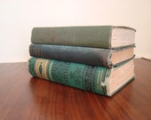 Collection of  Classic Literature, Vintage Books in Shades of Green