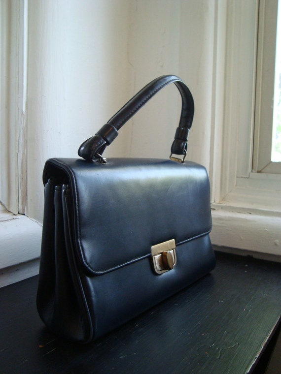 Navy Blue 1960's Faux Leather Handbag
