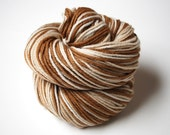 Organic Merino Worsted Weight Yarn Naturally Dyed in Chocolate Vanilla Swirl