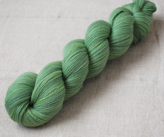 Naturally Dyed Extrafine Merino Lace Weight Hand Dyed Yarn in Meadow Grass