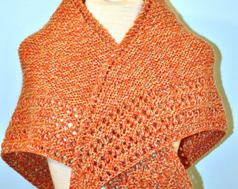 Hand knit wool shawl in peach or orange. Hand knitted wrap. OOAK handmade Shawl for fall or winter. Stole for formal event.