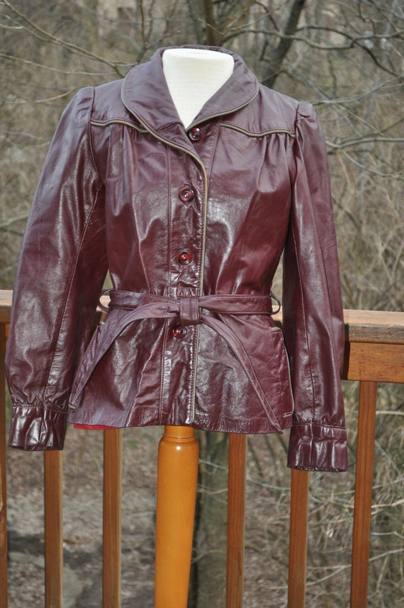 RESERVED FOR BROOKE Vintage Leather Jacket Woman's Burgundy Belted Blazer