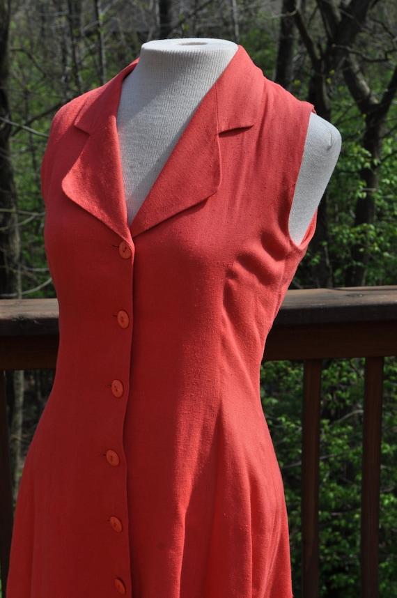 "Vintage Sleeveless ""Midi"" Dress. Coral Summer Dress. Tea Length Dress."