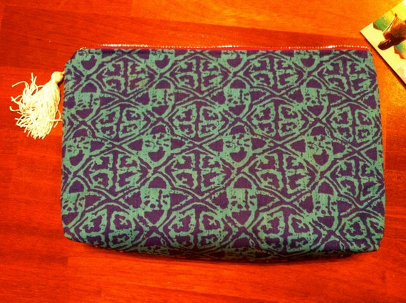 Two Tone Paisley Floral and Tribal vintage material clutch with tassle and zipper