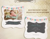 "Amber Baby 5x5"" Birth Announcement photo templates, can be printed as Ornate, Scalloped and flat card"
