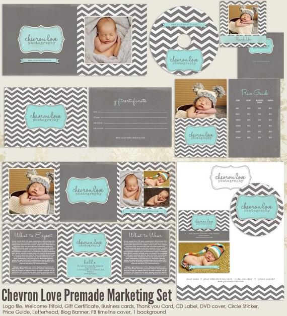Chevron Love Premade Photography Marketing Set Templates