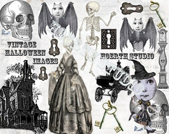 Printable Halloween Steampunk victorian Gothic Collage sheet Instant download