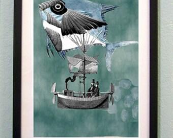 Steampunk nautical Adventure  Original print A  Fishtale instant download