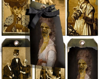 Printable  Zombie Macabre Gothic Halloween  Gift Tags for the Apocalypse of the Dead