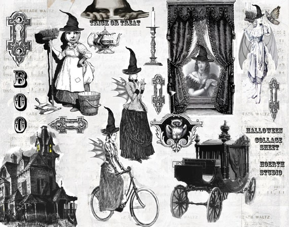 Halloween Steampunk Gothic Collage - Victorian Witches instant download collage