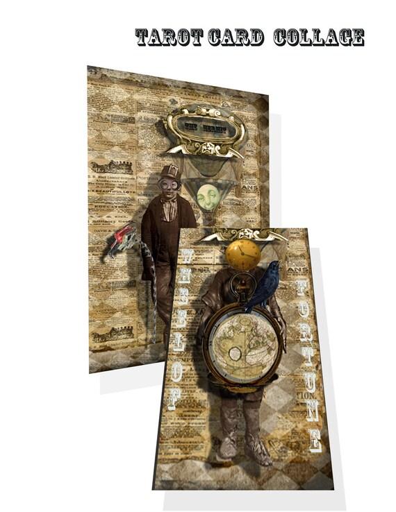 Steampunk gothic Tarot Card Collage