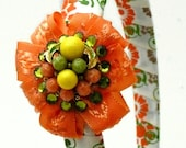 Retro Hair Accessory, Bright Orange, Avocado Green Headband Using Vintage, Beaded Earring and Satin Floral Ribbon, One of a Kind