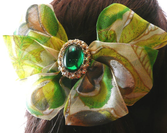 Vintage Jewelry, Green Cabochon Hair Accessory, Barrette, Lime and Coconut Tropical Hair Bow, Recycled Materials One of a Kind