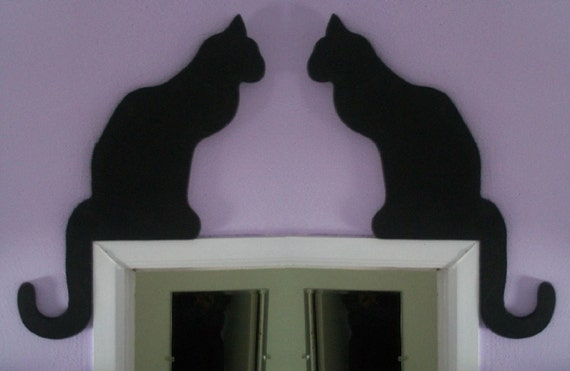 Black Cat Shadow Silhouettes - Set of Two