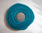 Flower Pin Felted Teal Handmade Eco Friendly
