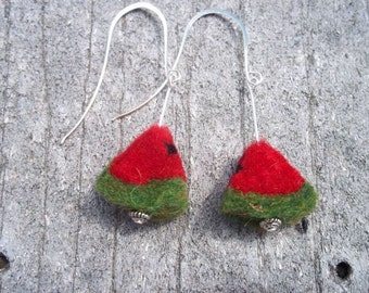 Watermelon Red Green Earrings Needle Felted