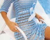 Open Lace Hand-Crocheted Dress With 3/4 Sleeves - Made to Order -