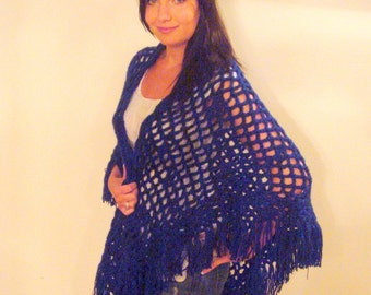 Shawl, Filigree Shimmer Deep Sapphire (ready to ship) SALE Price Reduced