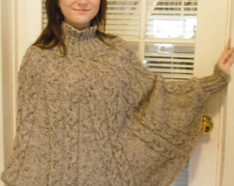 Womens Turtleneck Cabled Poncho w/ Sleeves - Made to Order