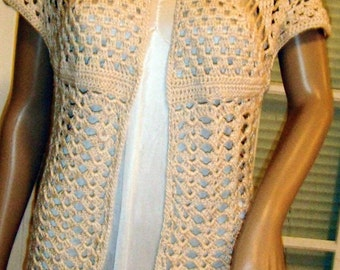 Pinapple Lace Crocheted Cardigan / Vest - Made to Order - free shipping in USA