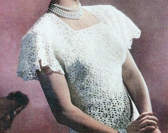 Vintage Hand Crocheted Motif Lace Blouse Top W/ Cape Sleeves - Made to Order -