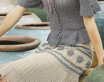 Elegant Crocheted Skirt with Coordinating Blouse - Made to Order -