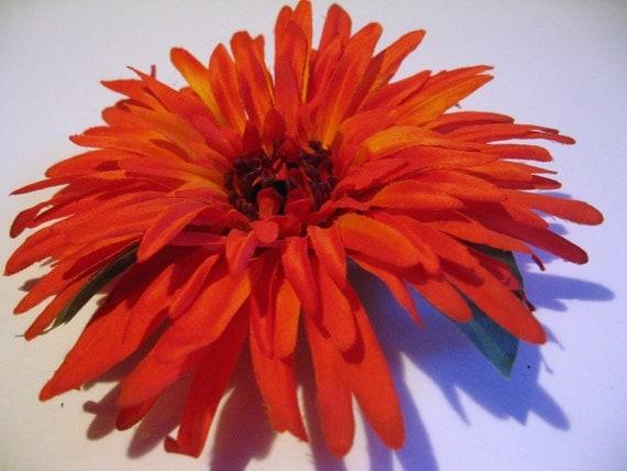 Large Orange Flower Hair Comb