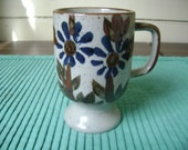 vintage speckled floral footed mug