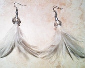 Feather earrings Bridal White Flare Feather Earrings Hypoallergenic