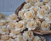 850 Pcs- SALE -Birch Wood Shavings Crafted Flowers - Natural - by AccentsandPetals on ETsy 001