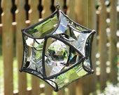Medium Concave Beveled Glass Orb Ornament with Crystal Ball Center