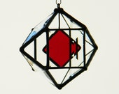 """3"""" Mini Beveled Glass Orb with Red Accent"""