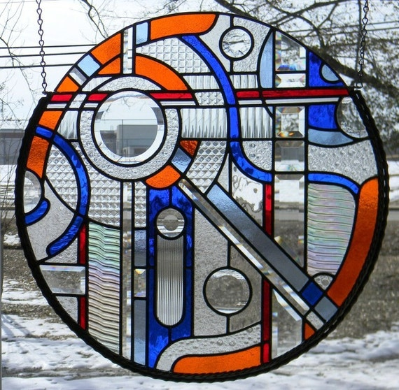 25 Modern Ideas To Use Stained Glass Designs For Home: Items Similar To Round Abstract Stained Glass Window On Etsy