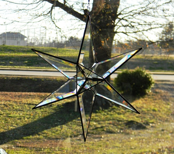 Large Beveled Glass Six Pointed Star