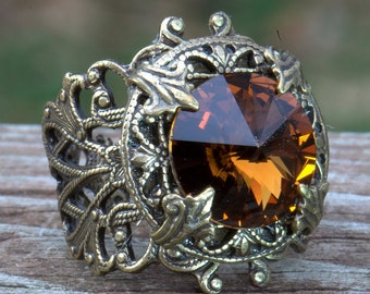 Ring, Swarovski Smoky Topaz, Adjustable antiqued brass, Size 4, 4.5, 5, 5.5, 6, 6.5, 7, 7.5, 8, 8.5, 9, 9.5, 10, 10.5, 11, 11.5, 12