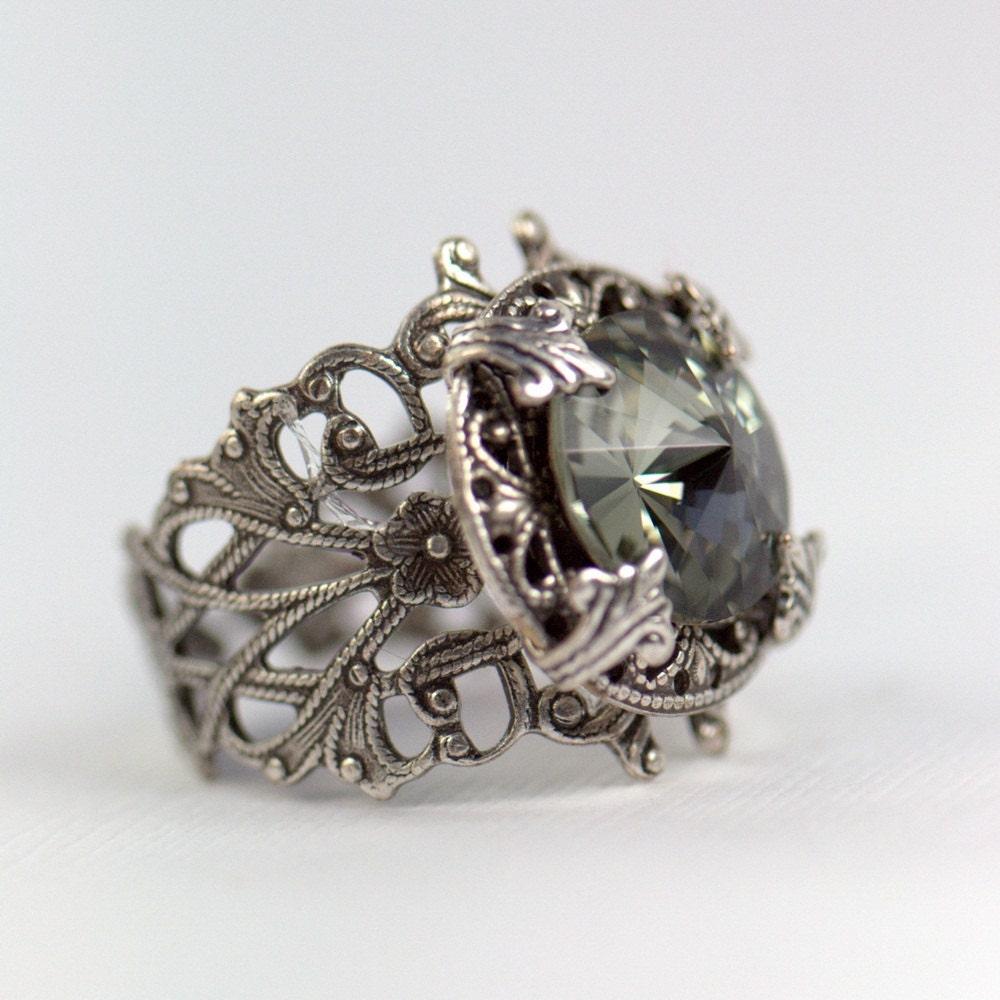 Silver Ring Swarovski Adjustable Size Grey Gray Black. Alternative Metal Wedding Rings. 22kt Gold Rings. Koa Wood Rings. Couple Wedding Rings. Engangement Wedding Rings. 18ct Diamond Rings. Bar Rings. Third Eye Rings
