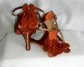 Customized dance shoes size 6, Tan salsa shoes, rhinestoned dance shoes