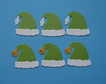 6 Elf Hat Die Cuts for Scrapbooking Cards and Paper Crafts Embellishment Santa Christmas Xmas