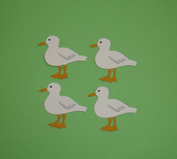 4 Seagull Embellishments Die Cuts for paper crafts scrapbooking and cards Bird Seagulls Beach